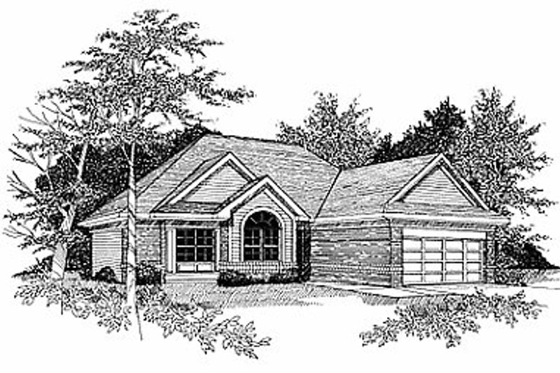 Traditional Style House Plan - 3 Beds 2.5 Baths 1596 Sq/Ft Plan #70-154 Exterior - Front Elevation