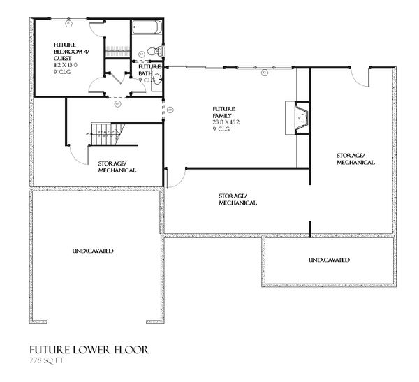 Traditional Floor Plan - Lower Floor Plan Plan #901-47