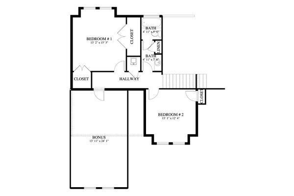 Traditional Floor Plan - Upper Floor Plan #1060-62