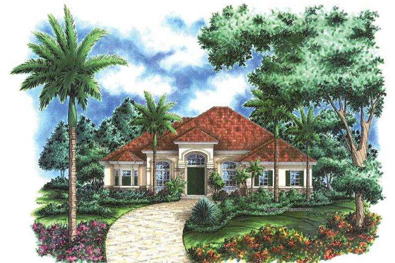 Architectural House Design - Mediterranean Exterior - Front Elevation Plan #1017-55