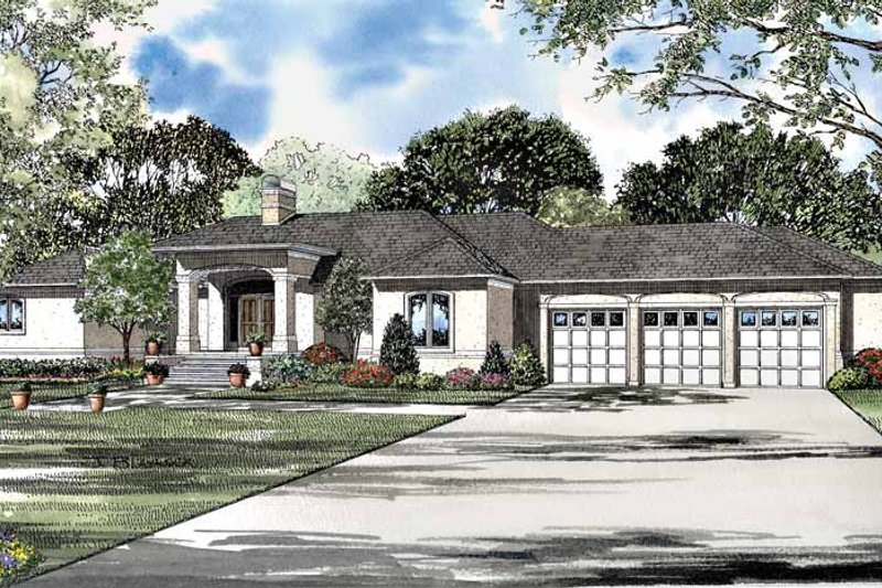 Mediterranean Exterior - Front Elevation Plan #17-3075