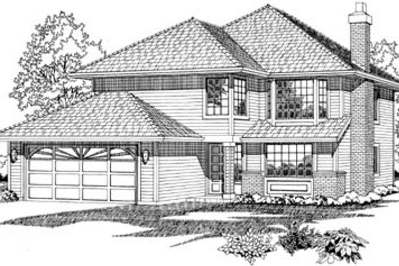 Traditional Style House Plan - 3 Beds 2 Baths 1422 Sq/Ft Plan #47-524 Exterior - Front Elevation