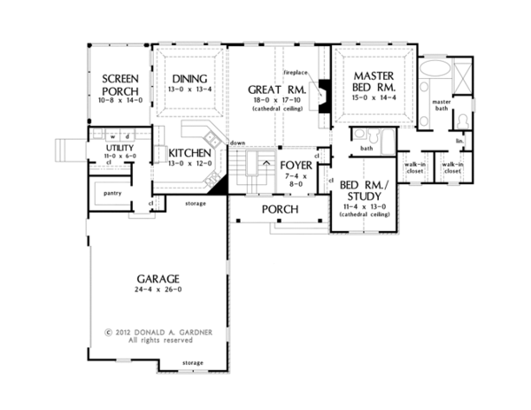 Craftsman Floor Plan - Main Floor Plan Plan #929-953
