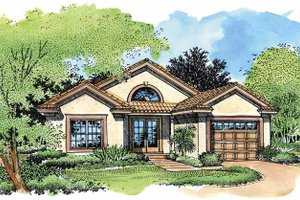 Dream House Plan - Mediterranean Exterior - Front Elevation Plan #320-557