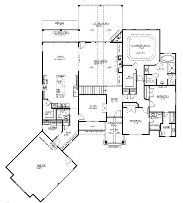 House Plan Design - Ranch Floor Plan - Main Floor Plan #437-71