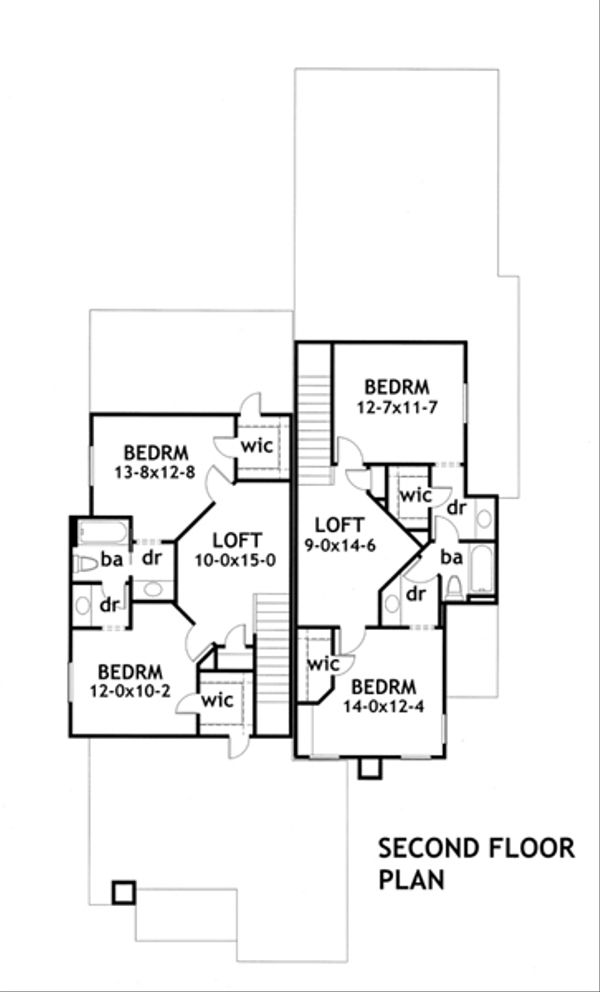 Craftsman Floor Plan - Upper Floor Plan Plan #120-170