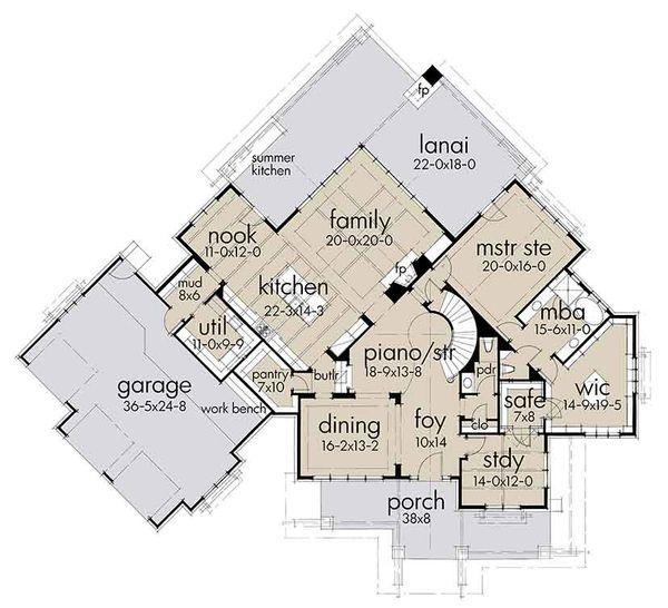 Country Floor Plan - Main Floor Plan Plan #120-250