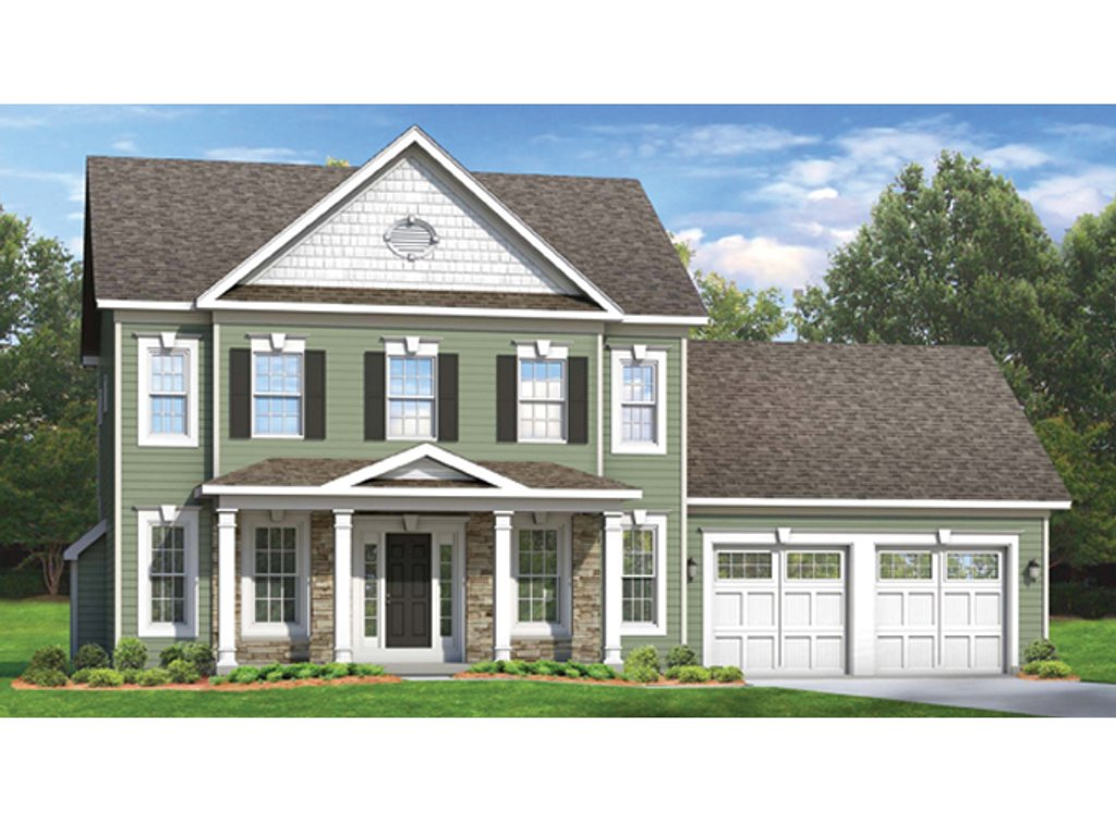 Colonial Style House Plan 4 Beds 2 5 Baths 2104 Sq Ft