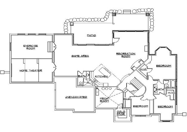 European Floor Plan - Lower Floor Plan Plan #5-459