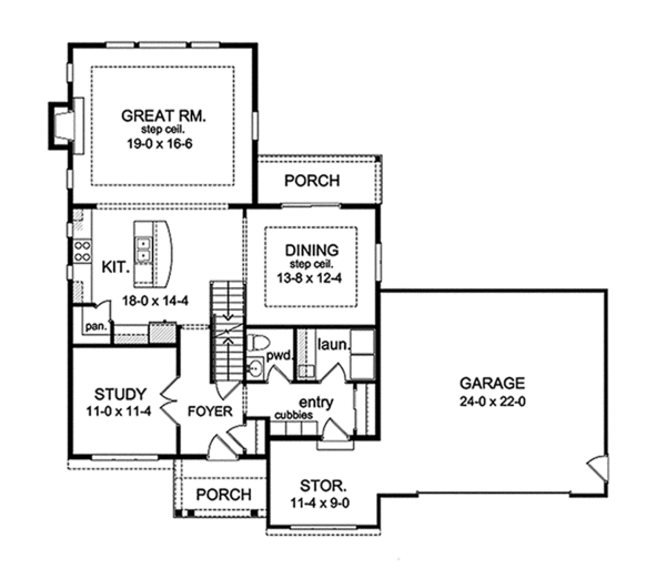 Architectural House Design - Traditional Floor Plan - Main Floor Plan #1010-123