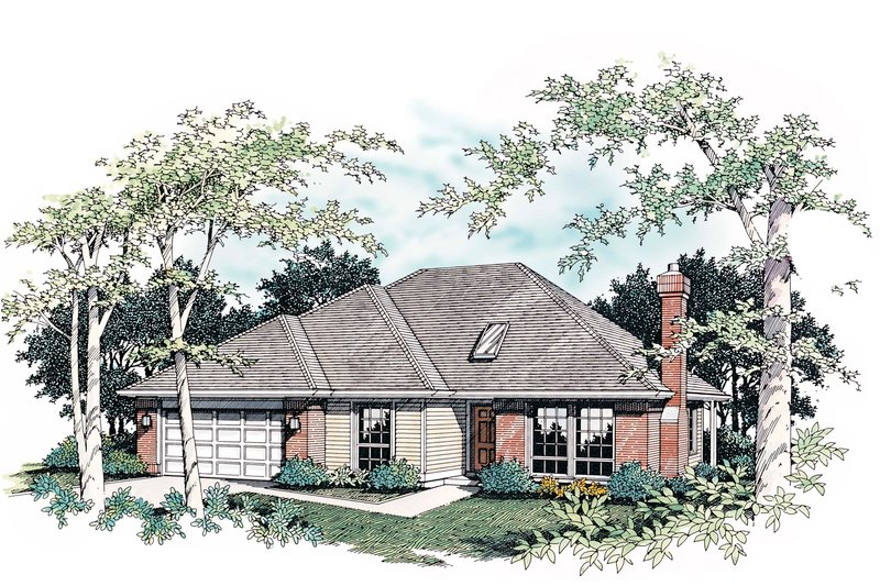 Ranch Exterior - Front Elevation Plan #48-592