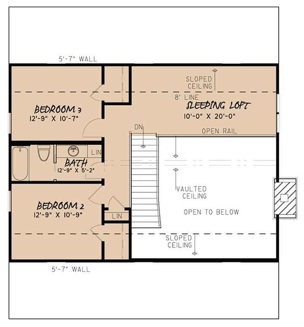 Country Floor Plan - Upper Floor Plan Plan #17-3413