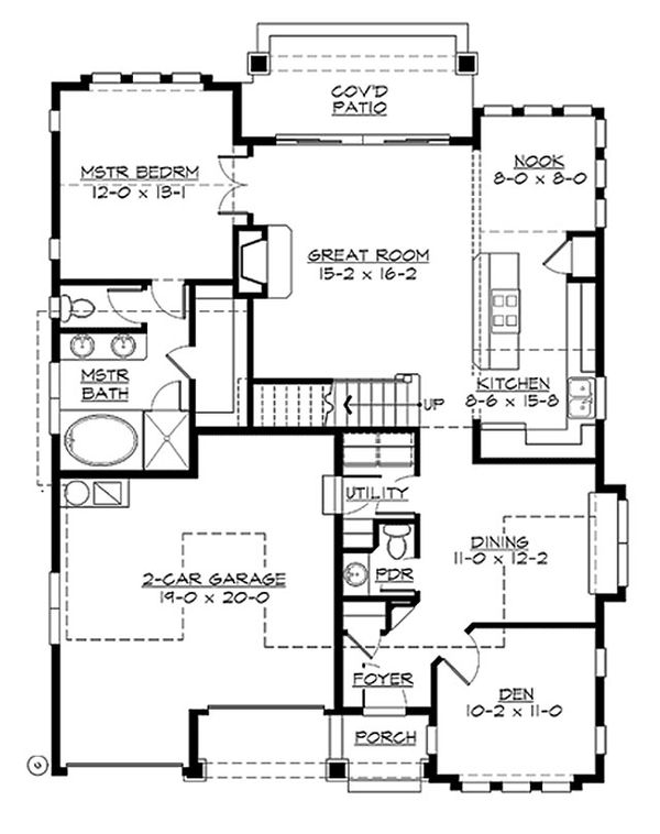 Craftsman Floor Plan - Main Floor Plan Plan #132-209