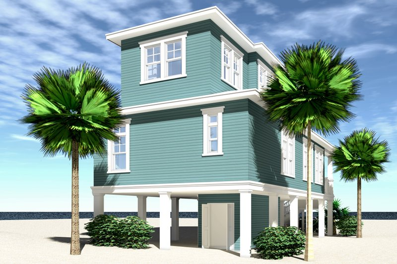 Beach Exterior - Rear Elevation Plan #64-258 - Houseplans.com