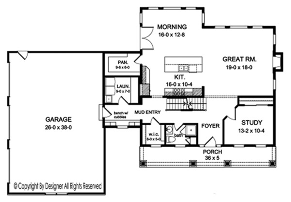 Colonial Floor Plan - Main Floor Plan Plan #1010-204