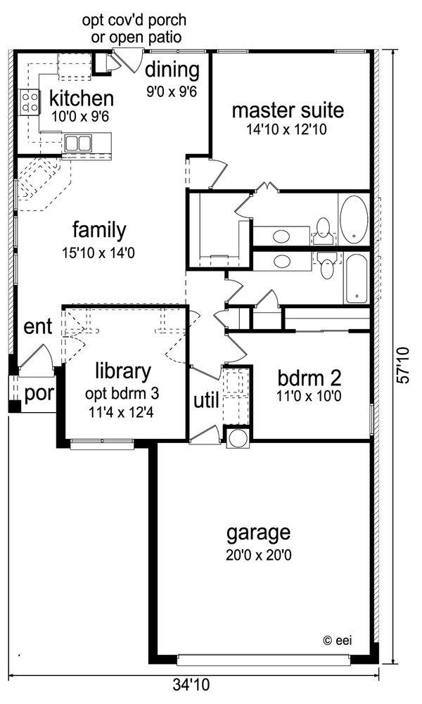 Contemporary Floor Plan - Main Floor Plan Plan #84-513