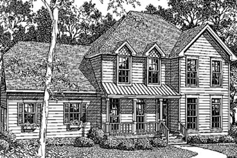 Country Style House Plan - 3 Beds 2.5 Baths 1701 Sq/Ft Plan #41-125 Exterior - Front Elevation