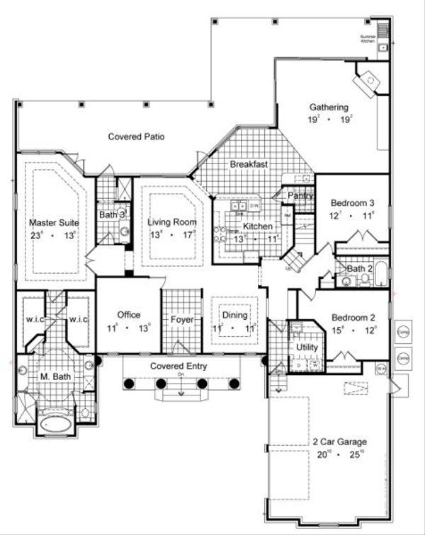 Classical Floor Plan - Main Floor Plan Plan #417-368