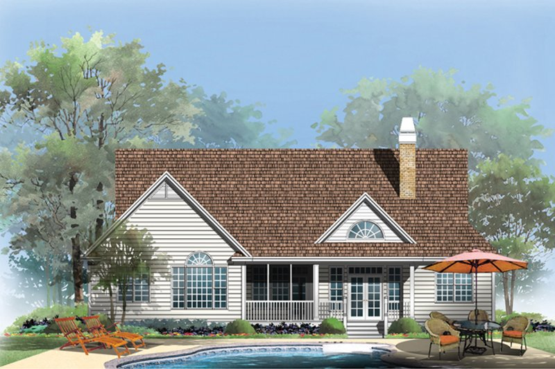 Traditional Exterior - Rear Elevation Plan #929-951 - Houseplans.com