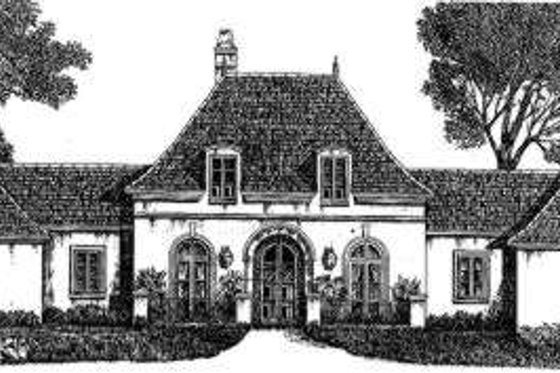 European Exterior - Front Elevation Plan #301-108