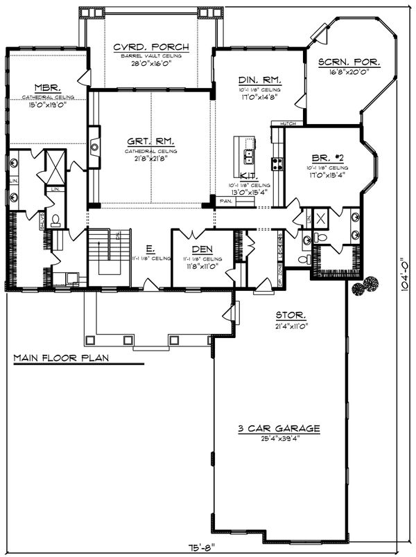 Ranch Floor Plan - Main Floor Plan Plan #70-1203