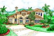 Mediterranean Style House Plan - 3 Beds 3.5 Baths 3810 Sq/Ft Plan #27-212 Exterior - Front Elevation