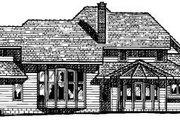 European Style House Plan - 4 Beds 3.5 Baths 3448 Sq/Ft Plan #20-1130 Exterior - Rear Elevation