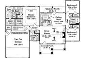 Craftsman Style House Plan - 3 Beds 2 Baths 1509 Sq/Ft Plan #21-246 Floor Plan - Main Floor Plan