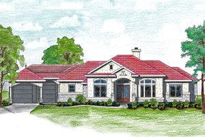 Dream House Plan - Mediterranean Exterior - Front Elevation Plan #80-175