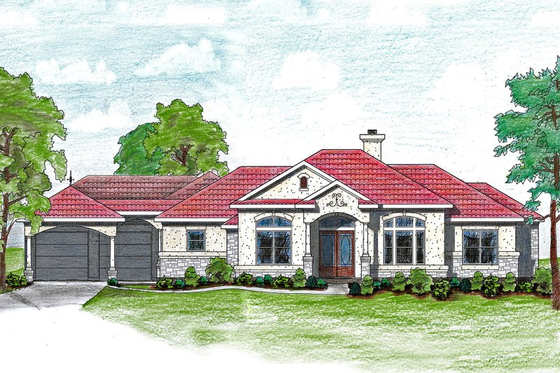 House Plan Design - Mediterranean Exterior - Front Elevation Plan #80-175