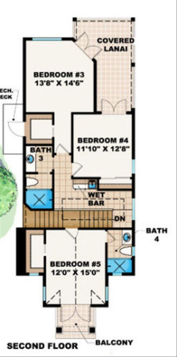 Mediterranean Floor Plan - Upper Floor Plan Plan #27-378