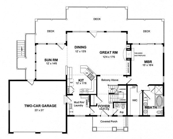 Colonial Floor Plan - Main Floor Plan Plan #316-287