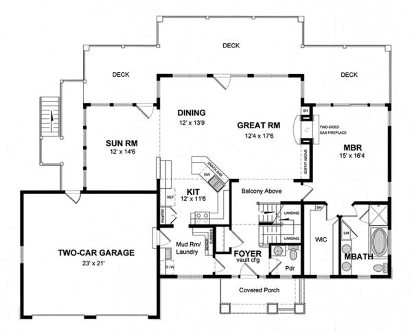 Colonial Floor Plan - Main Floor Plan Plan #316-287