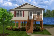Cottage Style House Plan - 2 Beds 1 Baths 736 Sq/Ft Plan #14-238 Exterior - Front Elevation