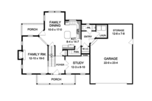 Colonial Floor Plan - Main Floor Plan Plan #1010-53