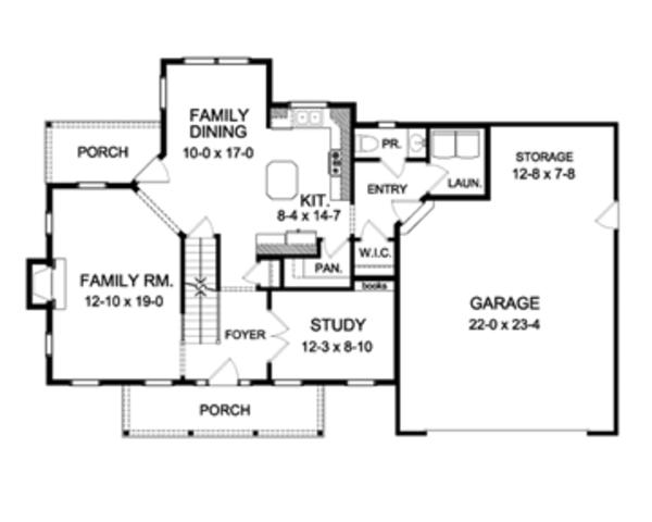 House Plan Design - Colonial Floor Plan - Main Floor Plan #1010-53