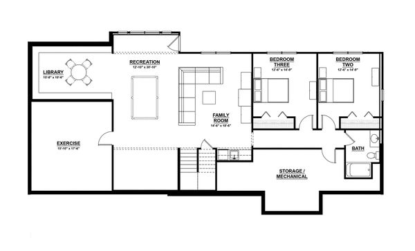 Ranch Floor Plan - Lower Floor Plan Plan #928-2