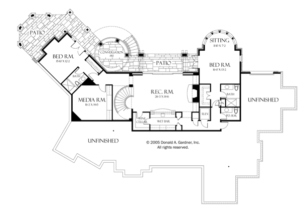 House Plan Design - European Floor Plan - Lower Floor Plan #929-895
