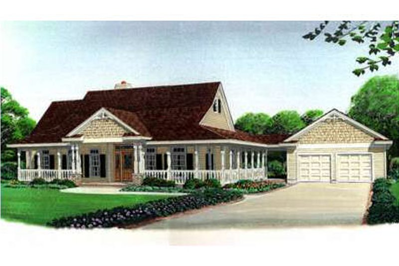 Country Style House Plan - 3 Beds 2 Baths 2320 Sq/Ft Plan #410-108 Exterior - Front Elevation