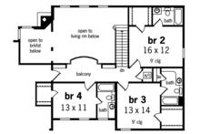 Country Floor Plan - Upper Floor Plan Plan #45-458