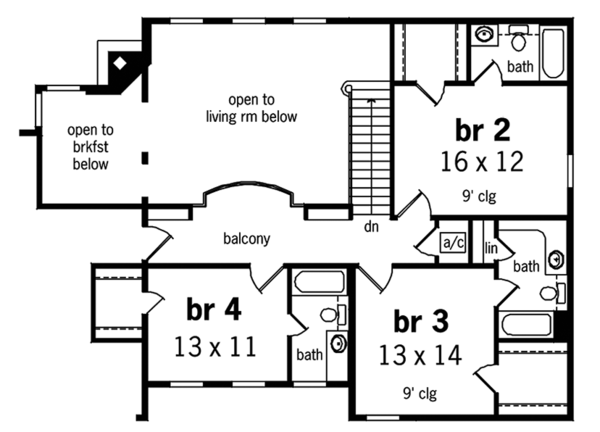 Country Floor Plan - Upper Floor Plan Plan #45-458
