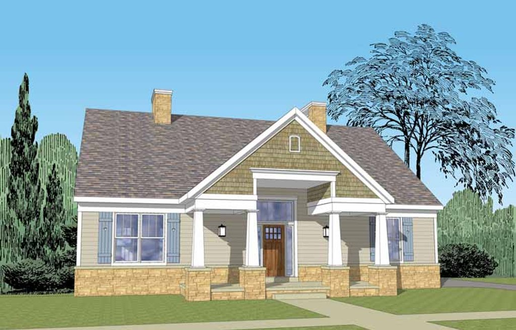 Craftsman Exterior Front Elevation Plan 1029 61
