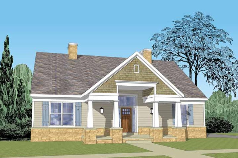 Craftsman Exterior - Front Elevation Plan #1029-61