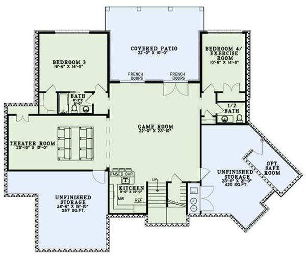 Ranch Floor Plan - Lower Floor Plan Plan #17-3404