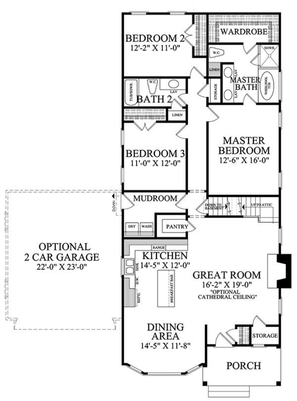 Ranch Floor Plan - Main Floor Plan Plan #137-369