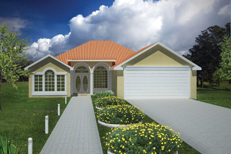 Adobe / Southwestern Exterior - Front Elevation Plan #1061-13 - Houseplans.com