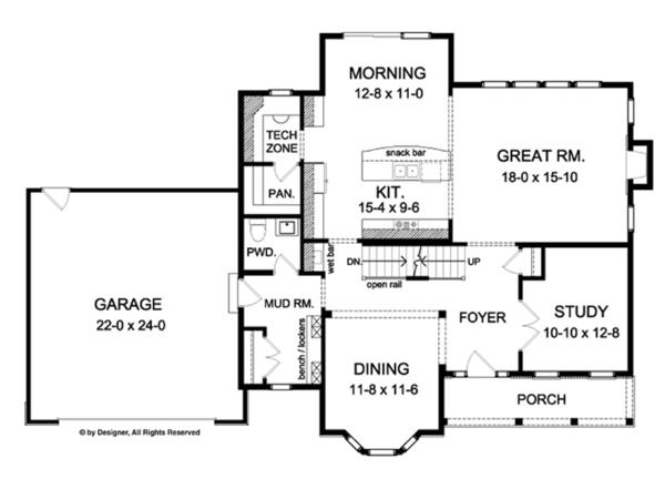 Colonial Floor Plan - Main Floor Plan Plan #1010-62