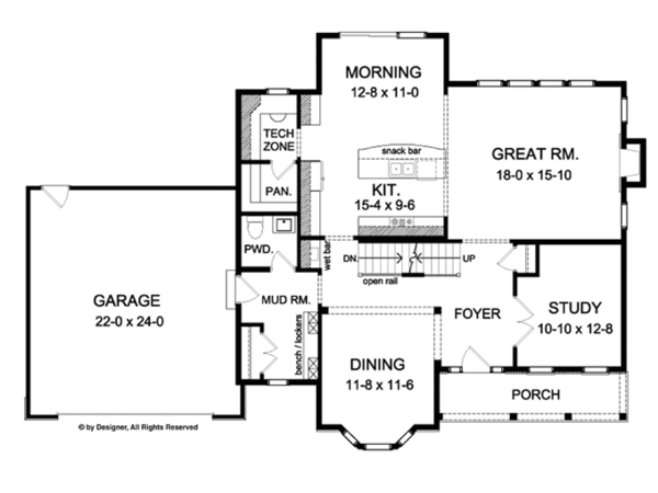 Architectural House Design - Colonial Floor Plan - Main Floor Plan #1010-62