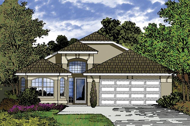 Architectural House Design - Mediterranean Exterior - Front Elevation Plan #417-846