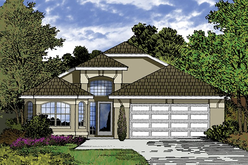 House Plan Design - Mediterranean Exterior - Front Elevation Plan #417-846